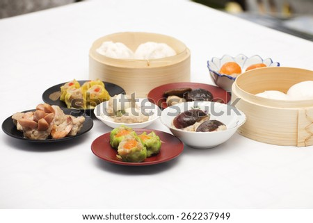 Group of stream Dim Sum chinese food (selective focus) / Cooking Dim sum concept - stock photo