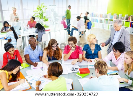 Group of Student in the Classroom Discussion Concept - stock photo