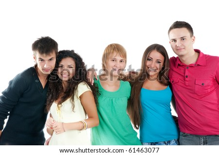 Group of student isolated on white background - stock photo