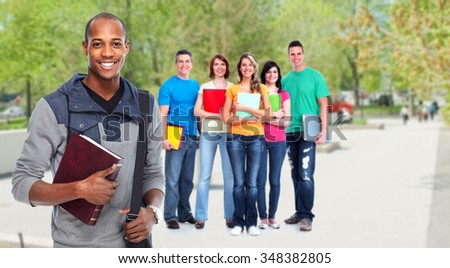 Group of student over urban park background. - stock photo