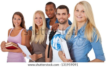 Group of students. All on white background. - stock photo
