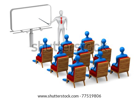 Group of students and person on white background - stock photo