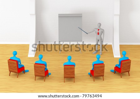Group of students and teacher in the classroom - stock photo