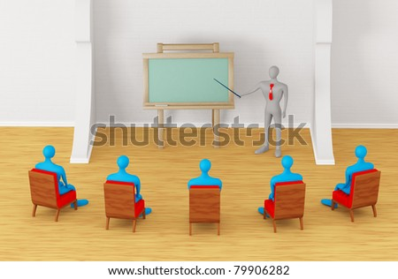 Group of students and teacher in the modern classroom - stock photo