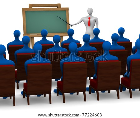 Group of students and teacher on white background - stock photo