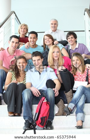 Group of students and teachers - stock photo