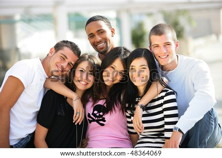 Group of students at university - stock photo