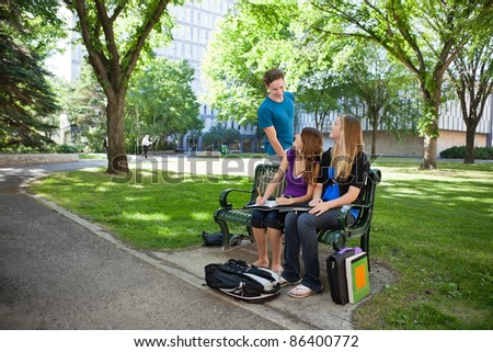 Group of students at university campus - stock photo