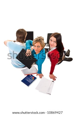 group of students having fun, doing home work (isolated on white) - stock photo