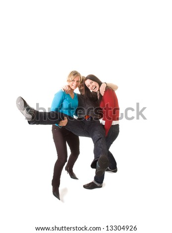 group of students having fun (isolated on white) - stock photo