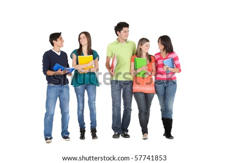 Group of students holding notebooks and walking - isolated - stock photo