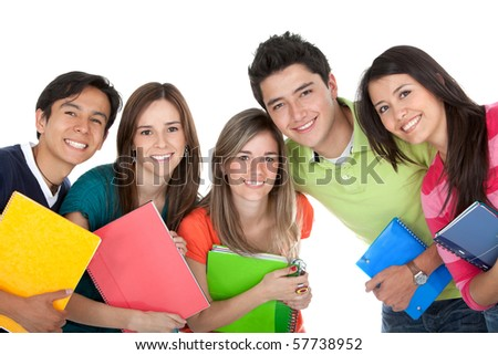 Group of students holding notebooks ? isolated over a white background - stock photo