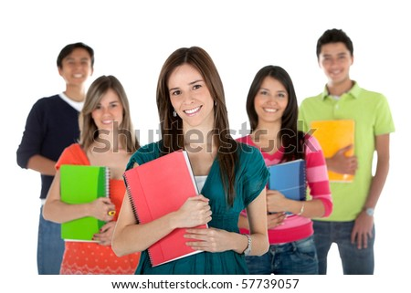 Group of students holding notebooks ? isolated over a white background
