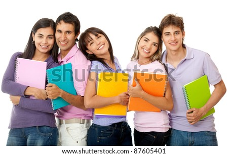Group of students holding notebooks - isolated over a white background