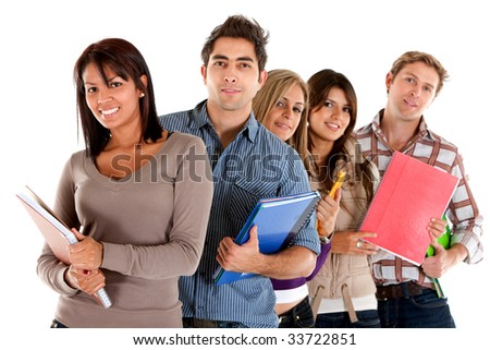 Group of students holding notebooks isolated over white
