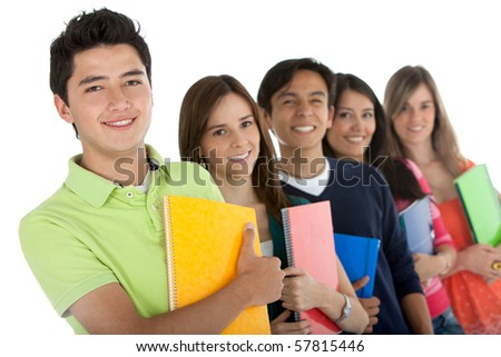 Group of students in a row holding notebooks ? isolated over a white background