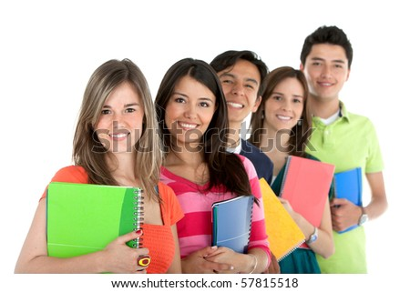 Group of students in a row holding notebooks ? isolated over a white background - stock photo