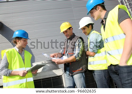 Group of students in professional training - stock photo