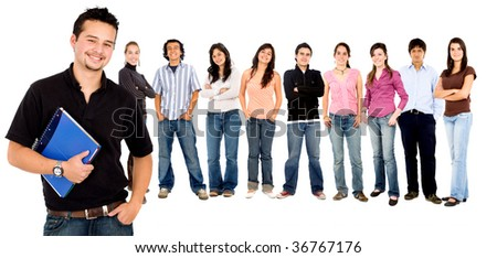 group of students isolated over a white background