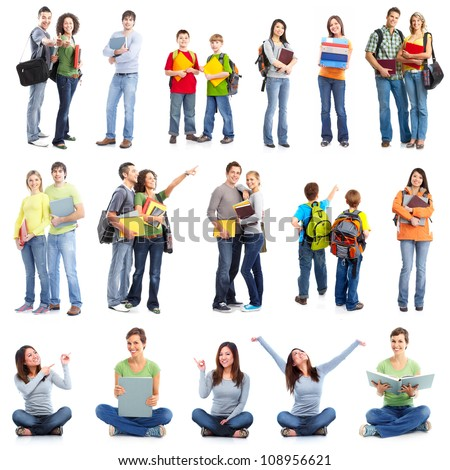 Group of students. Isolated over white background. - stock photo