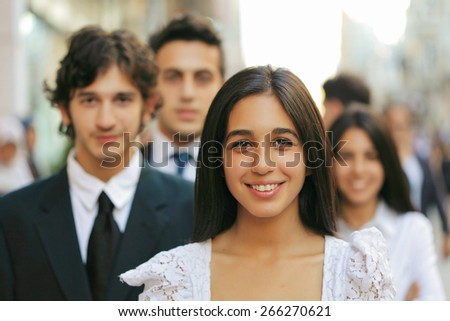Group of students outdoor - stock photo
