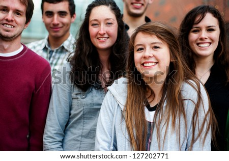 Group of Students Outside smiling together