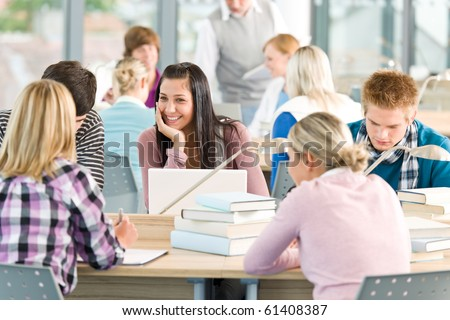 Group of students study in classroom at high school - stock photo
