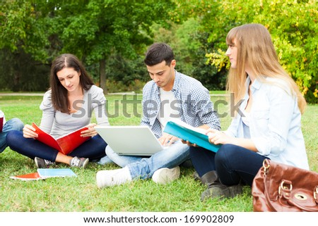 Group of students studying outdoor