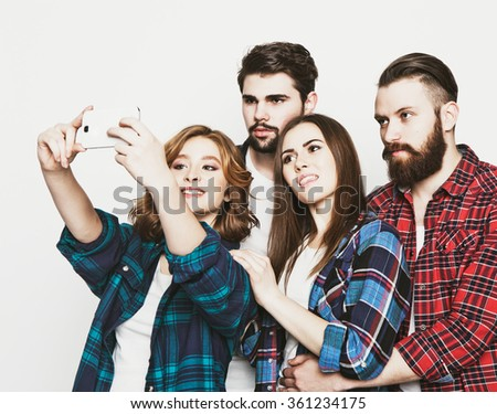 group of students taking selfie - stock photo