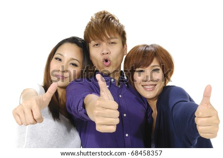Group of students Theme:having fun with thumbs up - stock photo