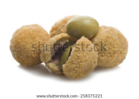 Group of stuffed olives close up on the white - stock photo