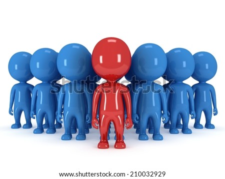 Group of stylized blue people with red teamleader stand on white in arrow form. Isolated 3d render icon. Teamwork, business, army, out of crowd concept.