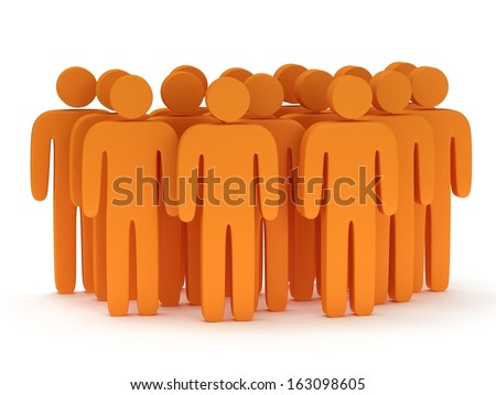 Group of stylized orange people stand on white. Isolated 3d render icon. Teamwork, business, crowd concept. - stock photo