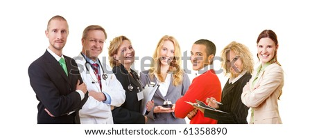 Group of successful business people looking into the camera - stock photo