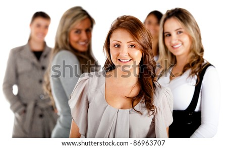 Group of successful business women - isolated over a white background
