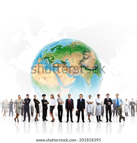 Group of successful confident businesspeople. Globalization concept. Elements of this image are furnished by NASA - stock photo