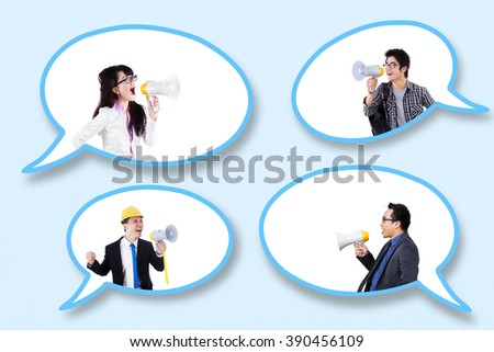 Group of successful people in the speech bubbles talking with megaphone