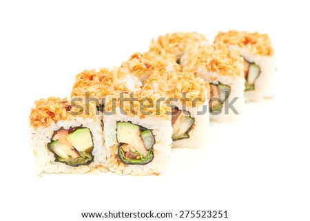 Group of sushi on white background