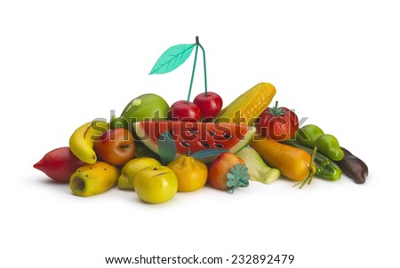 Group of sweet mixture almond fruit on withe background, with path. - stock photo