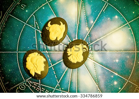 group of symbols of astrology signs of earth - stock photo