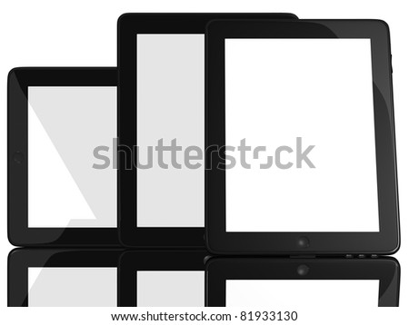Group of Tablet Computers isolated on white - stock photo