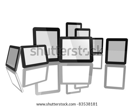 Group of Tablet Computers on white background - stock photo