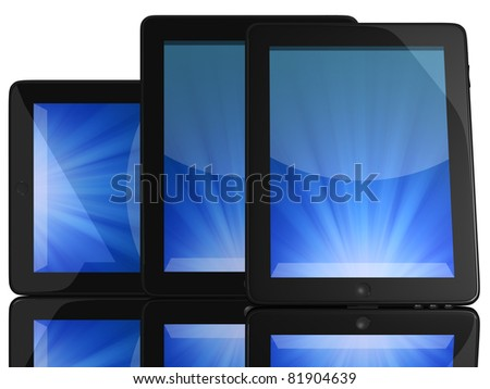 Group of Tablet Computers with blue screen isolated on white - stock photo