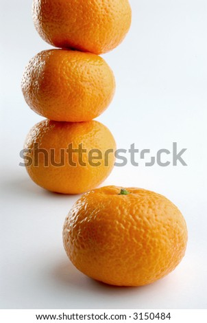 Group of tangerines on a white background - stock photo