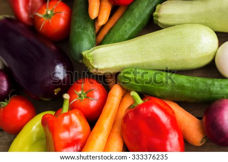 Group of tasty organic vegetables - stock photo