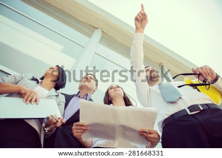Group of teamwork engineers - stock photo