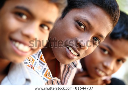 Group of teen boys looking at the camera. - stock photo