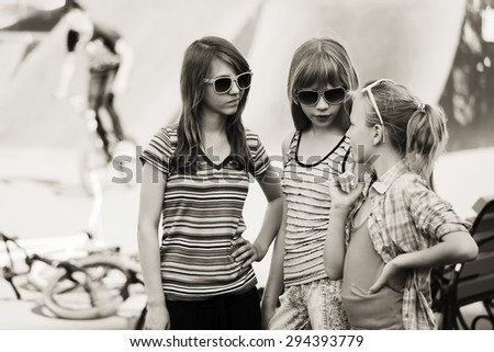 Group of teen girls outdoor - stock photo