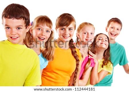 Group of teen people. Isolated. - stock photo