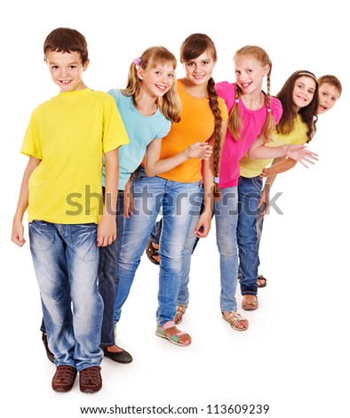 Group of teen people. Isolated. - stock photo